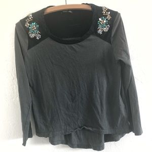 Zara WB Collection Jeweled Studded Blouse Small